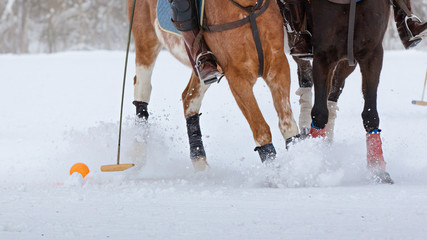 Snow polo: two horse polo players hits the ball