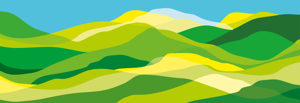 Multicolored mountains, green and yellow waves, abstract shapes, modern background, vector design Illustration for you project