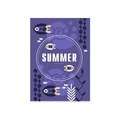 Summer banner template, trendy seasonal blue background for poster, flayer, postcard, cover, brochure, prints, invitation vector Illustration