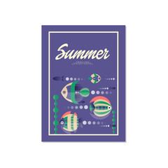 Summer banner template orifinal design, trendy seasonal background with fish for poster, flayer, postcard, cover, brochure, prints, invitation vector Illustration