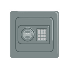 Safe box with a keypad buttons panel, safety business box cash secure protection concept vector Illustration