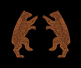 Two bears on a black background