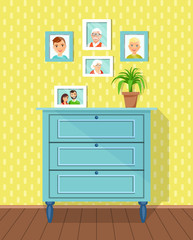 Family photos with in the framework of a chest of drawers in the room. Vector flat style illustration