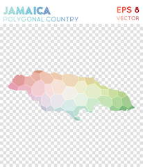 Jamaica polygonal map, mosaic style country. Modern low poly style, modern design. Jamaica polygonal map for infographics or presentation.