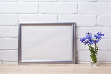 Silver landscape frame mockup with cornflower