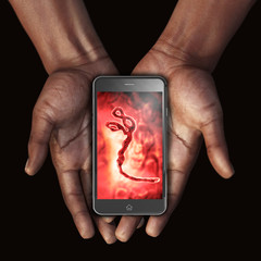 African hand with Smartphone image Ebola Virus