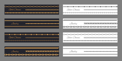 Jewelry Gold and Silver Chains Vector Illustration