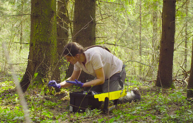 Woman scientist ecologist in the forest taking samples of the moss with tweezers