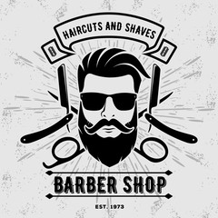 Barber shop vintage label, badge, or emblem on gray background. Vector illustration