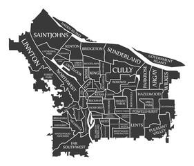 Portland Oregon city map USA labelled black illustration