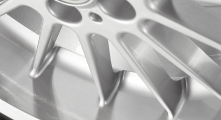 Part of silver alloy wheel with tire