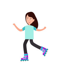 Girl Roller Skating Vector Illustration on White