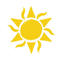 Hand drawn vector sun icon isolated on white.
