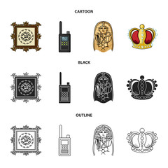 Picture, sarcophagus of the pharaoh, walkie-talkie, crown. Museum set collection icons in cartoon,black,outline style vector symbol stock illustration web.