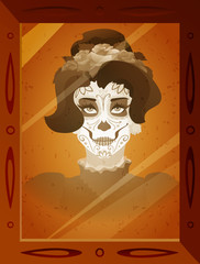 Vector photo of young woman with Catrina makeup