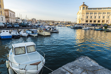 Fishing and recreational boats docked in Siracusa, Sicily, Italy
