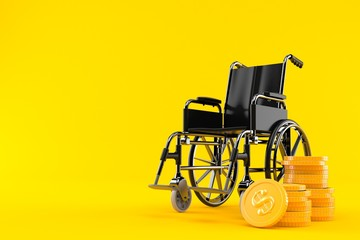 Wheelchair with stack of coins