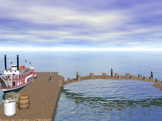 Hafen mit Raddampfer und Brücke