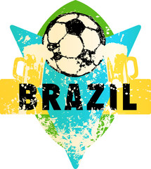 Soccer / Football fictional grungy emblem with soccer ball and beer,brazil, vector illustration