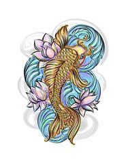 koi carp tatoo colorful