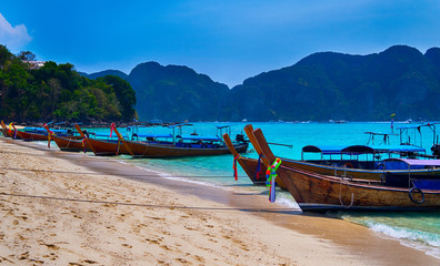 Asian long tail boats on the beach