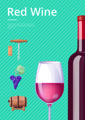 Red Wine Poster Bottle of Delicious Alcohol Drink