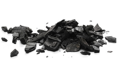 Charcoal pile isolated on white background