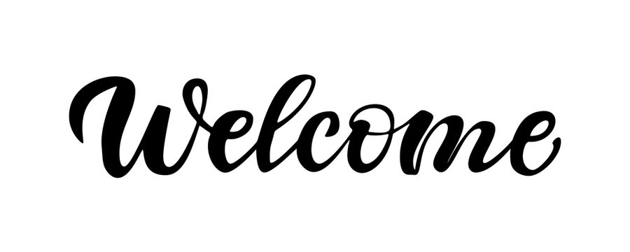 Lettering Welcome isolated on white background.