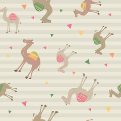 Abstract camel pattern with triangle in stripe. A playful, modern, and flexible pattern for brand who has cute and fun style. Repeated pattern. Happy, bright, and magical mood.