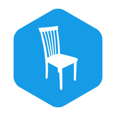 Icono plano silueta silla en hexagono azul
