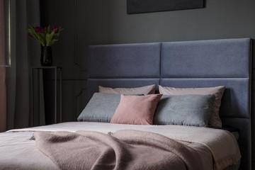 Pink and grey bedroom interior