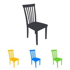 Icono plano silueta silla en varios colores
