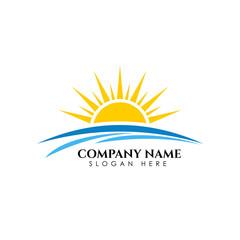 Sunrise sunshine logo template. Vector illustration Icon Logo Template Sun over horizon