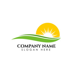 Nature Green Landscape Sunrise Logo Template. sun vector illustration Icon Logo Template
