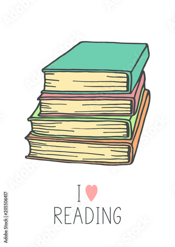Books stack sketch on white background  Hand drawn pile of