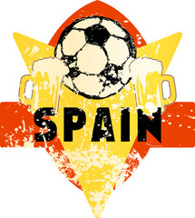 Soccer / Football fictional grungy emblem with soccer ball and beer,spain, vector illustration