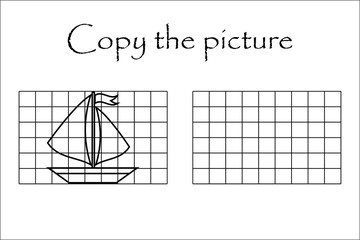 Copy the picture, black white ship, drawing skills training, educational paper game for the development of children, kids preschool activity, printable worksheet, vector illustration
