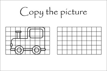 Copy the picture, black white locomotive, drawing skills training, educational paper game for the development of children, kids preschool activity, printable worksheet, vector illustration