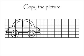 Copy the picture, black white car, drawing skills training, educational paper game for the development of children, kids preschool activity, printable worksheet, vector illustration
