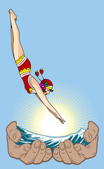 Girl in a retro swimsuit jumping in the palm of water with water