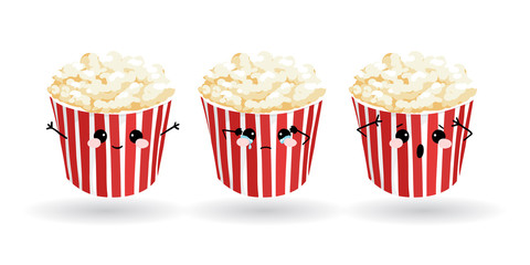 Cartoon funny popcorn. Hand drawn set of emoji. Vector emoticon illustration food