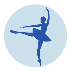 blue ballerina vector icon for web