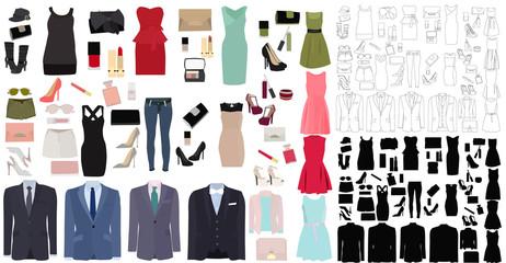 set of clothes, dress, jackets, shoes