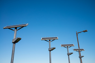 Solar cells lighting system against blue sky