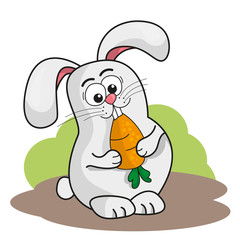 Cute cartoon little rabbit holding an orange carrot. Vector illustration on white