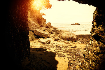 Summer photo of beach with sunset time and free space for your decoration.