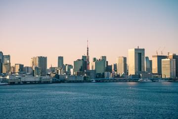 Seaside cityscape in evening, Tokyo Japan