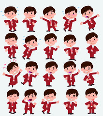 Businessman in a swimsuit. Twenty eight expressions and basics body elements, template for design work and animation. Vector illustration to Isolated and funny cartoon character.