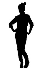 Stylish teenager girl pose silhouette
