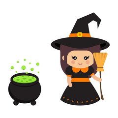 cartoon cute witch with cauldron and broom